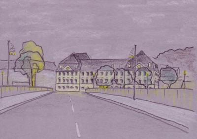 Skizze: Maximilium mit Brücke und Baum